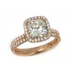 18k rose gold/ platinum 1.81 carat cushion diamond center pave' halo double row shank ring